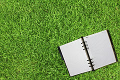 Old notebook on fresh spring. Green grass Royalty Free Stock Image
