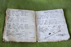 Old notebook with poems. YEYSK.RUSSIA-11 September 2015: Old notebook with poems of a soldier of the first world war in the Museum of the city Royalty Free Stock Photos