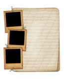 Old notebook with slides and fasteners Stock Photos