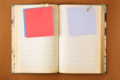 Old notebook with stained pages Royalty Free Stock Images