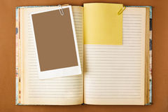 Old notebook with stained pages Stock Images