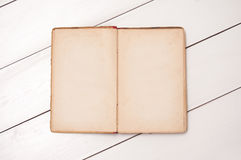 Old notebook on white boards Royalty Free Stock Image