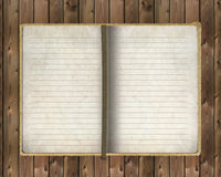 Old notebook on wooden background. Old notebook Open two face on wooden background Royalty Free Stock Image