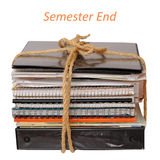 Old notebooks. A stack of old notebooks after semester royalty free stock images