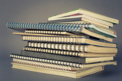 Old notebooks. Pile of old spiral notebooks royalty free stock images