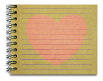Old notepad pink heart Royalty Free Stock Photos