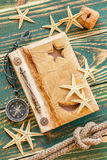 Old notepad with seashells Stock Photo