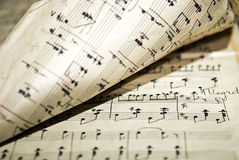 Old notes. The old musical notebook, old notes Royalty Free Stock Image