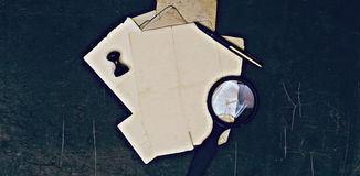 Old notes and documents. On vintage table stock photo