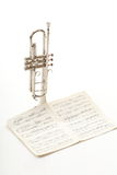 Old notes Sheet music trumpet white background Stock Images