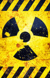Old nuclear warning sign stock image