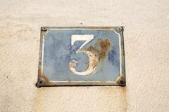 Old Number Three. On Wall Royalty Free Stock Images