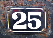 Old Number twenty five. Stock Photos