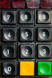An old numeric keypad with additional buttons stock photos