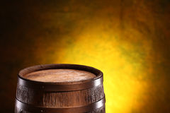 Old oak barrel on a wooden table. Royalty Free Stock Photo