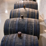 Old oak barrels in Wine Cellar Royalty Free Stock Photo