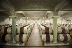 Old wine cellar in Chateau Pichon Longueville, Bordeaux, France Royalty Free Stock Photo