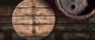 Old oak beer or wine barrel background Stock Photography