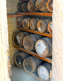 Old Oak Gun Powder Barrels Stock Photos