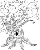 Old oak tree illustration for tales graphics Royalty Free Stock Photo