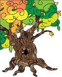 Old oak tree illustration for tales Royalty Free Stock Photography