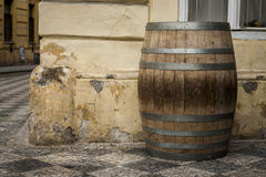 The old oak wine barrel. Royalty Free Stock Image