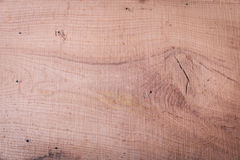Old oak wood plank  with big knot and nail holes Royalty Free Stock Photography