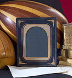 Old objects books paper lute mandolin ,frame Stock Photography