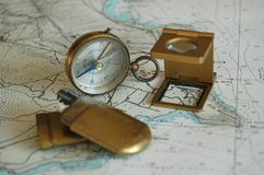 Old objects on a map ! Royalty Free Stock Images
