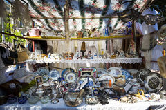 Old objects in a stall in the market of San Telmo in Buenos Aires stock photo
