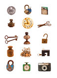 Old objects and tools assorted group  on white Royalty Free Stock Photos