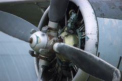 An old obsolete aircraft propeller. At evening Royalty Free Stock Photography