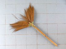 Old obsolete broom. Close up Stock Photos