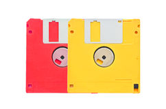 Old obsolete colored floppy disks Royalty Free Stock Photography