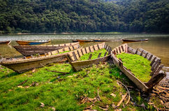 Old obsolete fishing boats at the lake Stock Image
