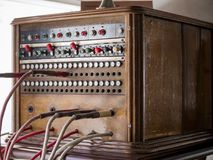 Old obsolete hotel switch exhibits in the museum. MOSCOW, RUSSIA - MARCH 20, 2018: Old obsolete hotel switch Kungliga Telegrafverkets Verkstad exhibits in the Stock Photo