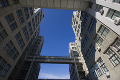 Old office building. Wide view of concrete 30th office building Stock Photo
