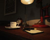 Old office table with fountain pen, notepad, coffee cup, lamp, clock, red candlestick telephone and books. Old office table with fountain pen, notepad, coffee Royalty Free Stock Photography