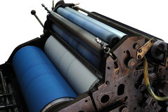 OLD OFFSET PRINTING MACHINE. CLOSEUP INK ROLLERS OF OLD OFFSET PRINTING MACHINE Royalty Free Stock Images