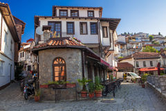 Old Ohid Town, Macedonia. This is a picture taken early in the morning of a couple of lanes/streets in the old part of Ohid town, Macedonia Royalty Free Stock Photos