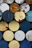 Old oil barrels. Stack of old oil barrels stock images