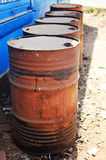 Old oil barrels Royalty Free Stock Photos