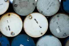 Old Oil barrels tank with colorful, stacked royalty free stock images