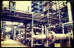 Old oil and gas refinery industry Stock Photos