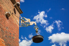 Old oil lamp on the city hall of Gdansk Royalty Free Stock Images
