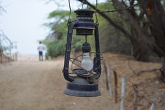 Old oil lamp with new bulb for decoration Royalty Free Stock Photos