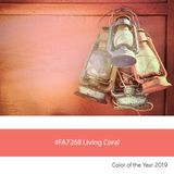 Living Coral Color of the Year, Old lanterns royalty free stock photos