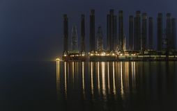 Old oil platforms in the Caspian Sea. Nature royalty free stock photos