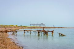 Old oil rig in Caspian Sea. In Azerbaijan royalty free stock image