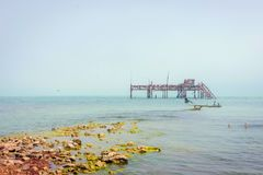 Old oil rig in Caspian Sea. In Azerbaijan stock photography